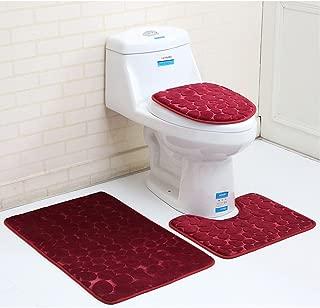 MIFXIN Bathroom Rug Set 3 Pieces, Non Slip Soft Bathroom Rug Rectangular Floor Mat, U-Shaped Toilet Mat, Elongated Toilet Lid Cover (Red Pebbles)
