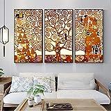 3 piezas Gustav Klimt Kiss Lienzo Reproducciones de pinturas Clásicas El árbol de la vida Lienzos decorativos para el hogar 16'x32' (40x80cm) x3 Sin marco