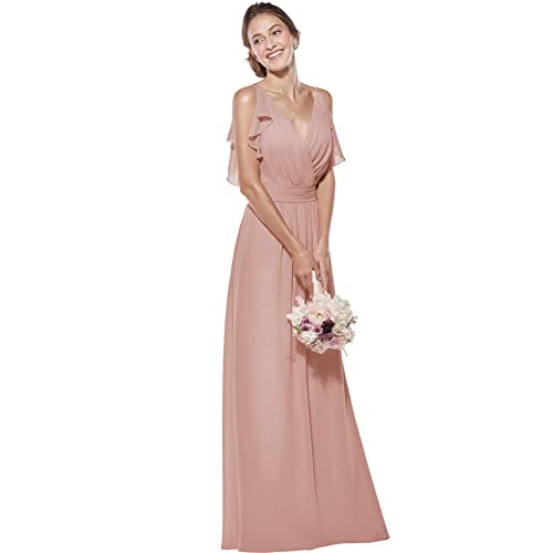 80af5e970a Zhongde Women s Double V Neck Spaghetti Straps Chiffon Bridesmaid Dress  Long Formal Evening Gown