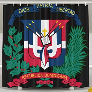 TPXYJOF Coat of Arms Dominican Republic Flag 6072 Inch Bathroom Shower Curtain Set Waterproof Bath Curtain Fabric Polyester for Bathroom Decoration,White,6072inch