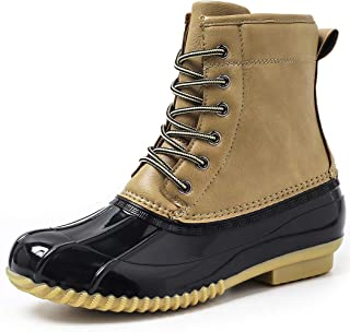 Hahafash Women's Duck Boots Lace Up Ankle Boots Fur Lining Insulated Waterproof Rain Duck Boots Outdoor Snow Boots