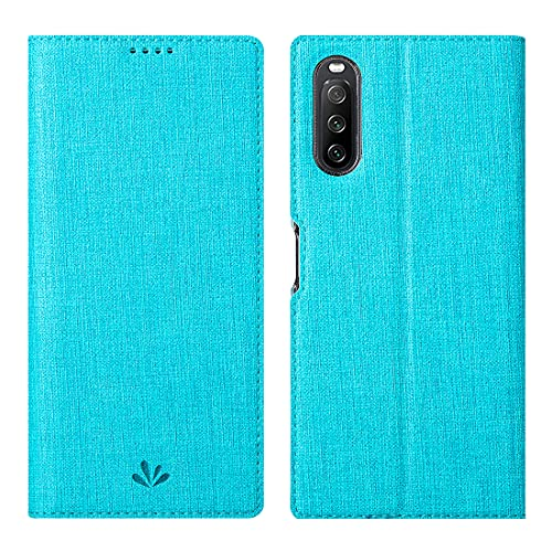 Foluu Hülle für Sony Xperia 10 III (2021) Klappdeckel Brieftasche dünn hochwertiges PU-Leder Fächer für Kreditkarten & Ausweise Klappständer Magnetverschluss stoßabsorbierende Schutzhülle Blau