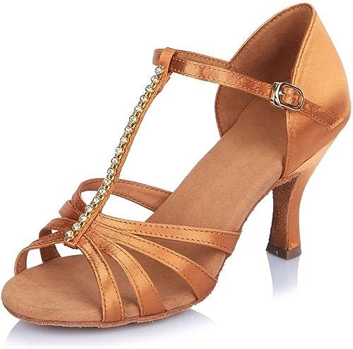 YFF zapatos de Baile Latino de satén Femenino La mujer Tango Salsa Fiesta zapatos de Baile de salón