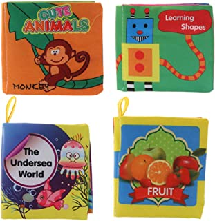 Homyl 4 Pieces Infants Intelligence Readings Soft Cloth Book 4 Pages Kids Toddler Sensory Educational Toy Color Shape Cognition