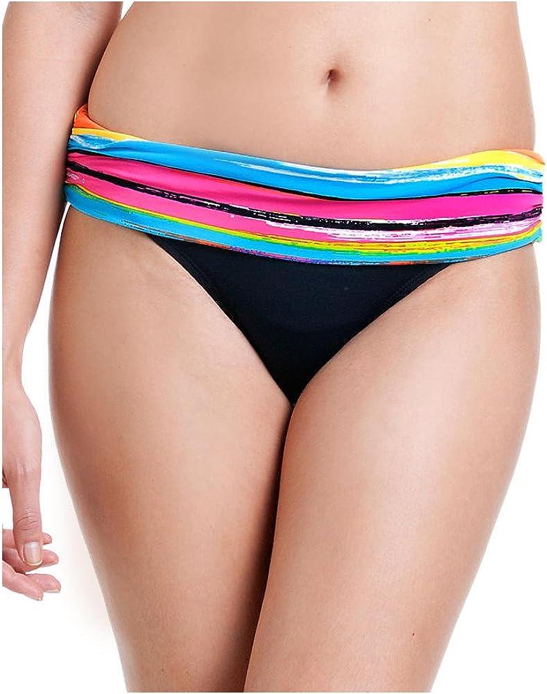 Anne Cole Women's Painterly Stripe Foldover Mid-Rise Bikini Max 49% Our shop most popular OFF Bott