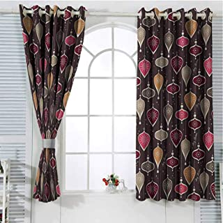 Mozenou Winter Grommets Curtain for Kitchen Window Christmas Inspired Pattern with Ornate Traditional Elements Baubles and Snowflakes Household Darkening Curtains 63