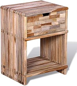 vidaXL Mesilla de Noche con cajones de Teca reciclada Mueble de casa decoración hogar