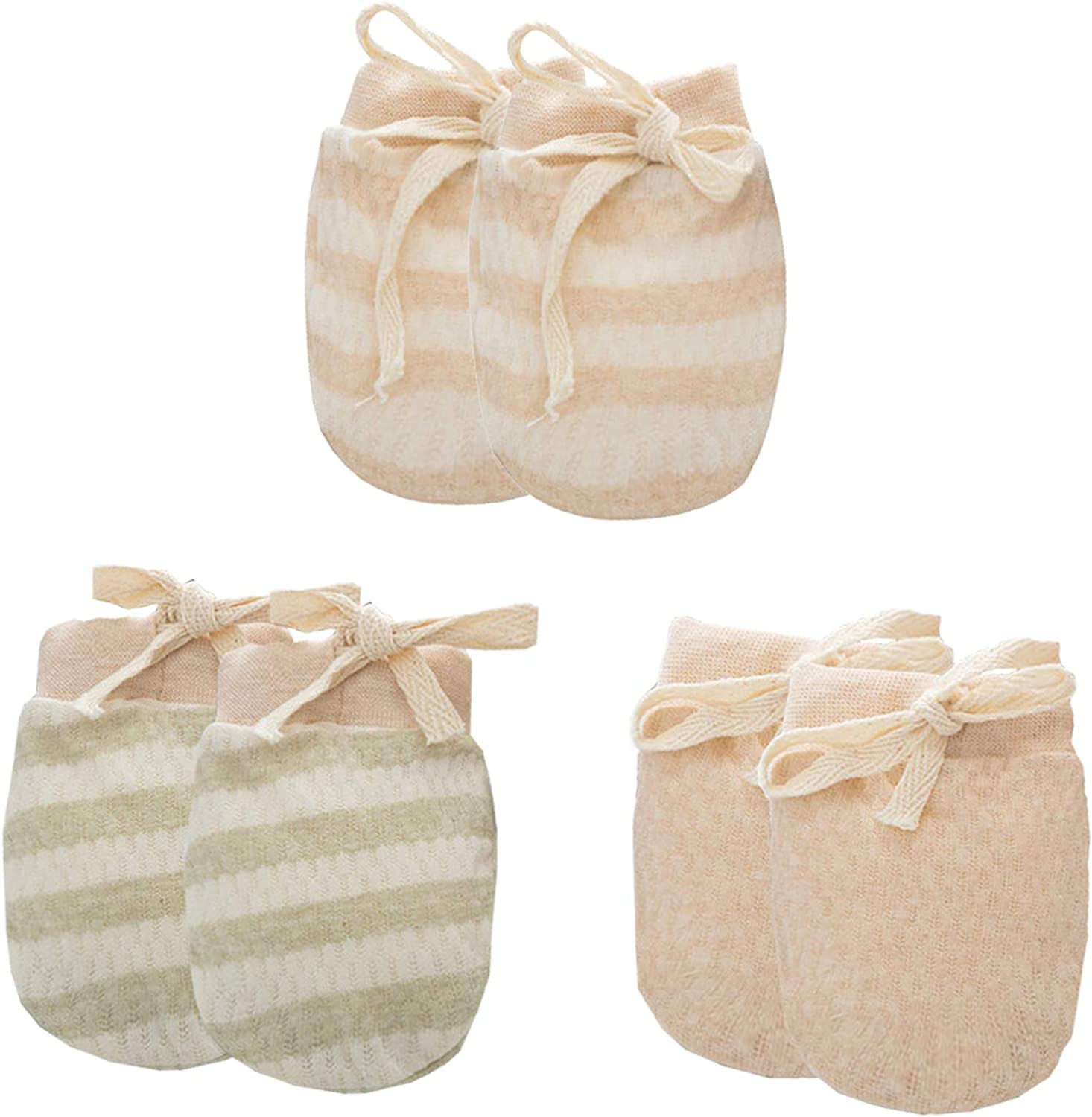 3 Pack Baby Organic Cotton Gloves 0-6 Months Striped Solid Newborn Infant Boys Girls No Scratch Mittens with Strap