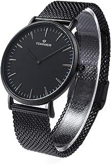 Tonnier, Reloj de cuarzo con pulsera de malla delgada de acero inoxidable, relojes para hombre