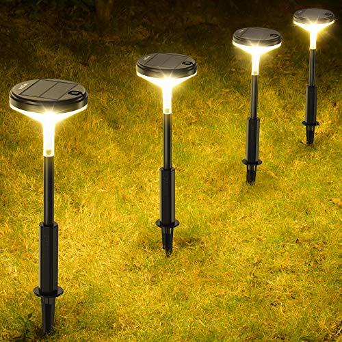 Wegeleuchten Solar, LITOM Gartenleuchte Solar Warmweiß mit 3 Helligkeitsmodi, Größerem 0,75W Solarpanel, 1200mAh Längere Akkulaufzeit, IP65 Wasserdicht für Garten, Terrassen, Pfostenlichter, Garage