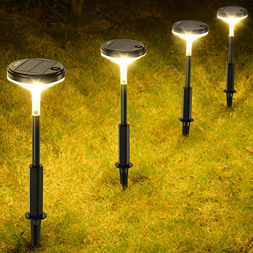LITOM Solar Pathway Lights Outdoor 3 Lighting Modes Wireless Solar LED Landscape Lights IP65 Waterproof Solar Powered Garden Lights for Ground Lawn Patio Yard Driveway Deck Walkway 4 Pack Warm White