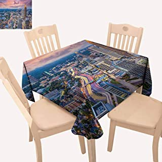 UHOO2018 Modern,Wrinkle Resistant Tablecloth Atlanta City Skyline at Sunset with Hazy Light Georgia Town American View for Weddings, Banquets, or Restaurants Baby Pink Blue Silver 70