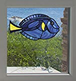 Tropical Fish - Blue Tang - Palette Surgeonfish - Stained Glass Style - See-Through Vinyl Window...