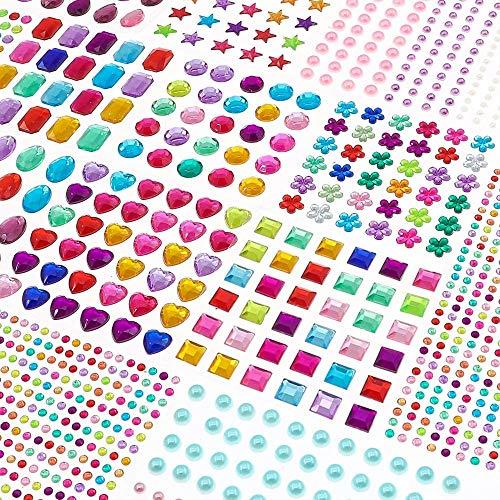 BAKHK 14 Blätter 1782 Selbstklebenden Strasssteine Glitzersteine zum Aufkleben Schmucksteine Aufkleber für Kinder Handwerke, Fotorahmen, Grußkarten, in Verschiedenen Größen