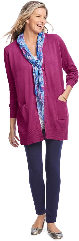 Woman Within Women's Plus Size The Cotton Perfect Boyfriend Cardigan Sweater