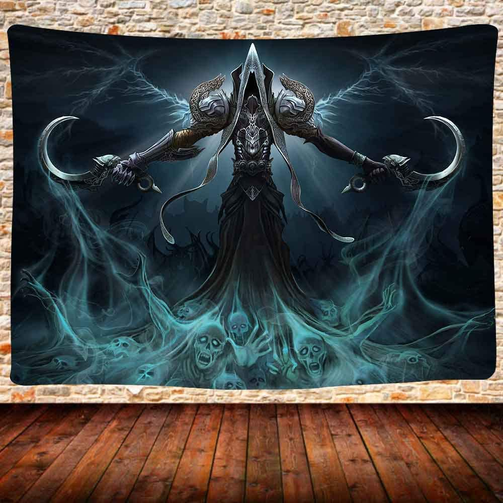 UHOMETAP Grim Reaper Tapestry, Soul Harvester Tapestry Wall Hanging. Video Game Tapestry, Bedroom Wall Decor Bed Cover 80X60 Inches GTQQUH258