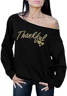 Awkwardstyles Thankful Off The Shoulder Tops Pocket Sweatshirt Thanksgiving