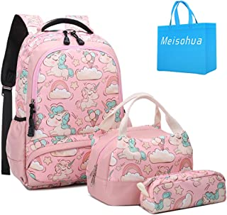 School Backpacks Girls Unicorn Backpack with Lunch Bag and Pencil Case Kids 3 in 1 Bookbags Set School Bag for Elementary Preschool