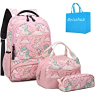School Backpacks Girls Unicorn Backpack with Lunch Bag and Pencil Case Kids 3 in 1 Bookbags Set...