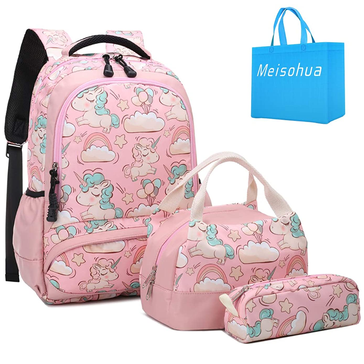 Meisohua School Backpacks Set Girls Unicorn Backpack with Lunch Bag and Pencil Case Kids 3 in 1 Bookbags Set School Bag for Elementary Preschool Water Resistant (Pink)