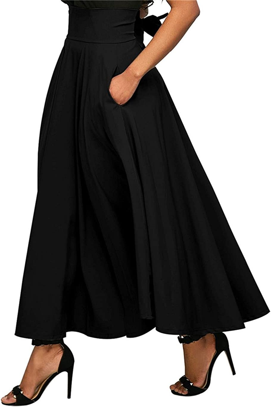 ChicChic Women's High Waist A-line Bowknot Flare Long Work Slit Skirt with Pocket