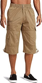 HOPATISEN Men's Long Cargo Shorts Lightweight Durable Work Shorts Cotton Elastic Waist Shorts Loose Fit with Multi Pockets