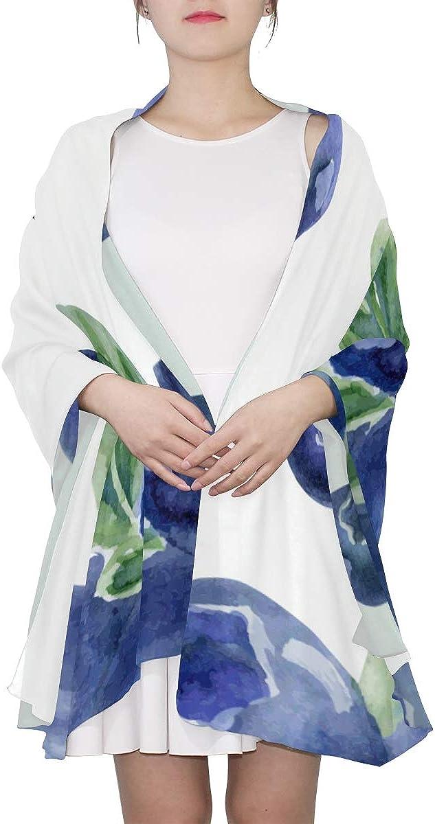Shoulder Scarfs For Women Bright Blue Natural Fresh Blueberry Summer Scarf For Women Shawl Wraps For Women Lightweight Print Scarves Fashion Scarfs Women Elegant Scarf