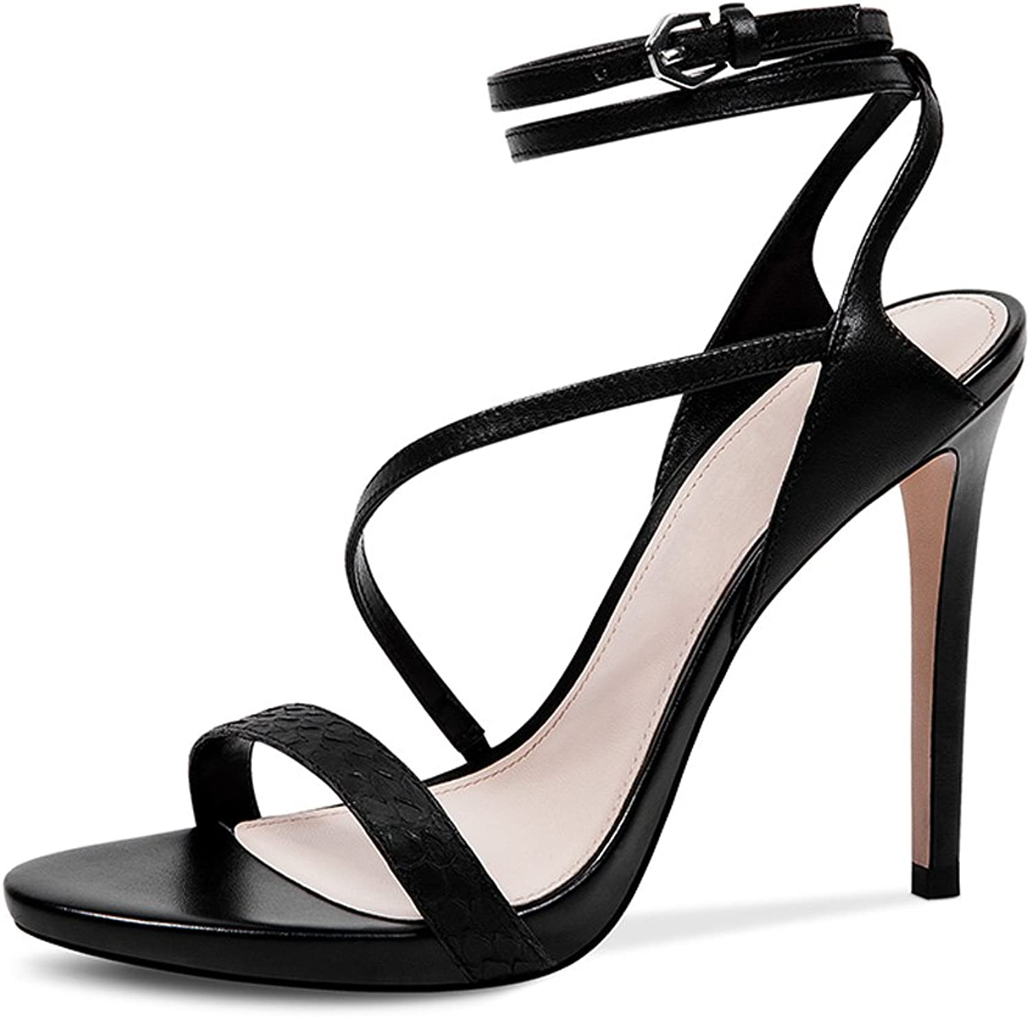 WANGXIAOLIN Europe And The United States Leather Strap Sexy Thin With Waterproof Platform High Heel Sandals ( color   Black , Size   39 )