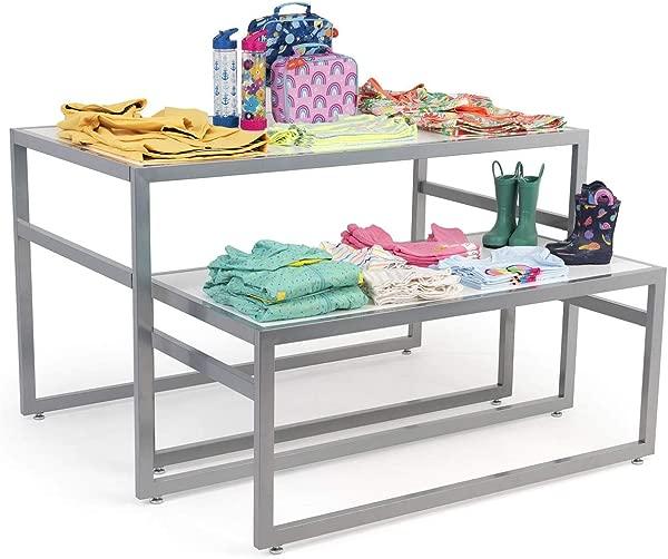Displays2go 2 件带现代风格和钢架的长方形嵌套桌套装,配有 MDF 柜台白色