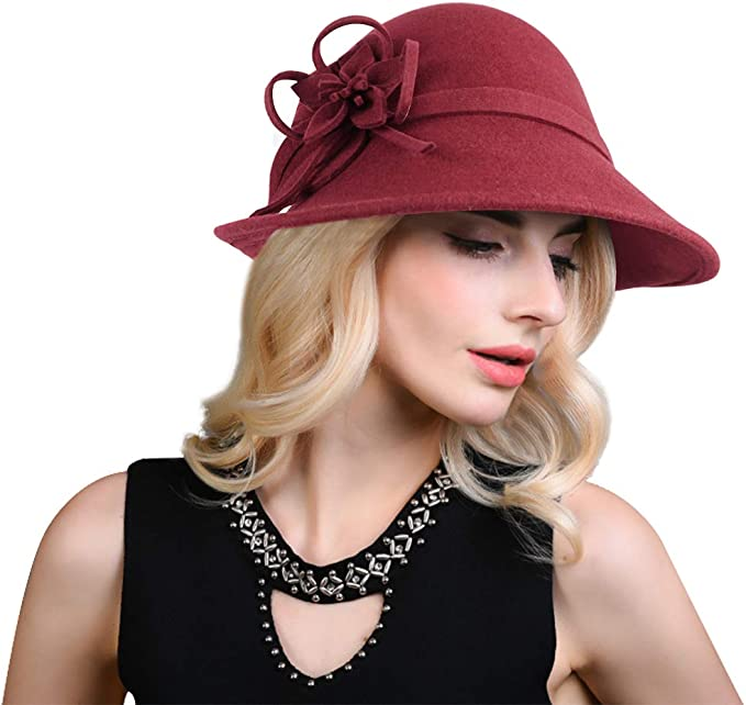 1930s Style Hats   Buy 30s Ladies Hats Bellady Women Solid Color Winter Hat 100% Wool Cloche Bucket with Bow Accent  AT vintagedancer.com