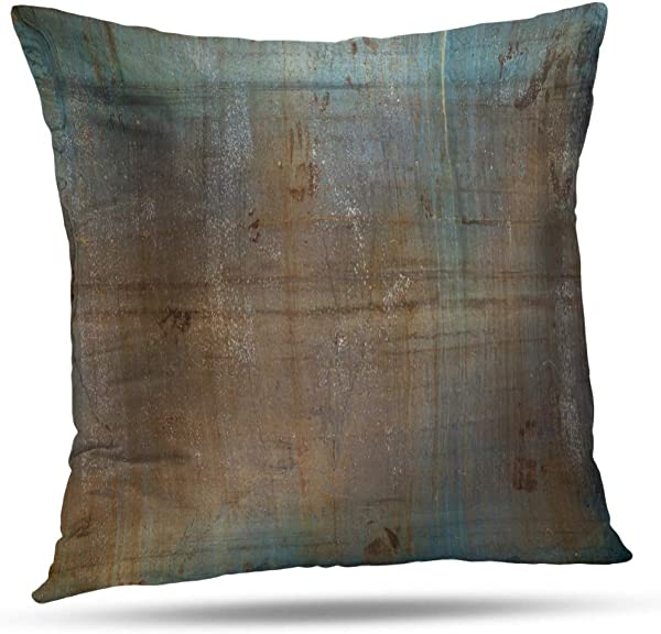 ONELZ Throw Pillow Covers Old Metal Sheet Surface Abstract Aged Backdrop Blue Brown Building Decoration Dirty Double Sided Cushion Cover 16 X 16 Inch Decorative Home Gift Bed Pillowcase