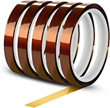 WIRESTER 5 Rolls 10mm X 30m (100ft) High Temperature Heat Resistant Tape Electronic Polyimide Tape for Masking, Soldering, Electrical, Heat Transfer Vinyl, 3D Printers