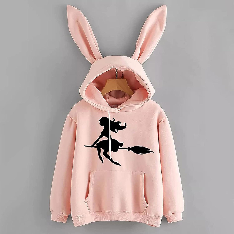 Bunny Hoodie with Ears for Women Bunny Jacket Kawaii Animal Rabbit Ear Hoodie Cute Sweatshirts for Teens Girl