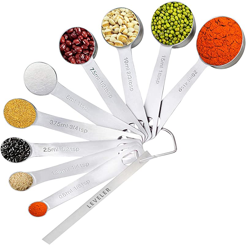 Measuring Spoons Stainless Steel Yoelike Set Of 9 1 For Measurement Dry And Liquid Ingredients Mini Milliliter Teaspoon And Tablespoon Accurate Measure Spoon Tool For Home Kitchen Cooking Baking