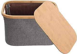 DNSAHOI Boîte de rangement pliable avec couvercle en bambou Gris 38 x 26 x 23 cm