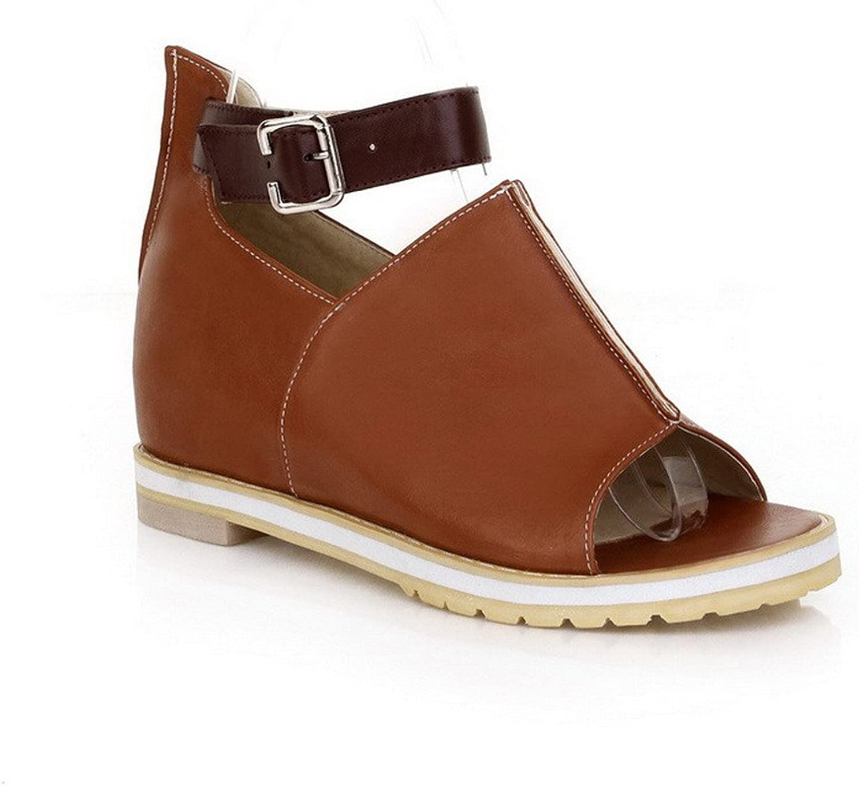 WeiPoot Women's Soft Material Open-Toe Low-Heels Solid Sandals, Brown, 36