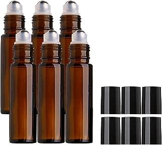 Sinide 6 Pack Amber Glass Roll on Bottles10ml [1/3oz] with Stainless Steel Metal Balls, Essential Oil Roller Bottles for Essential Oil, Aromatherapy Perfume. Roller Ball Bottle for Liquid (Amber 6)