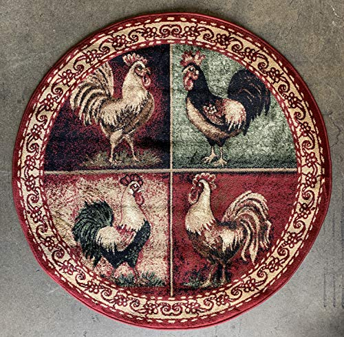 Soft Round Rooster Area Rug Dark Red  Black Beige Green (4 Feet X 4 Feet)