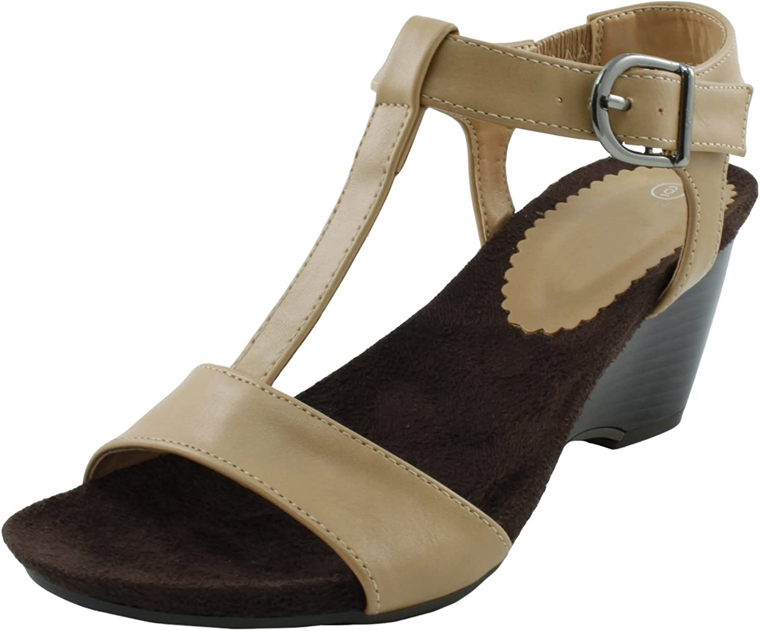 Cambridge Select Women's T-Strap Buckle Open Toe Platform Wedge Sandal,9 M US,Beige