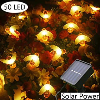 Xingpold Solar Honey Bee Fairy Lights,Outdoor Waterproof Solar Powered String Lights,50 LED 23 Feet 8 Modes Decorative Lights for Garden Patio Lawn Gate Yard Holiday Party Christmas Decor Warm White