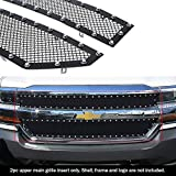 APS Compatible with 2016-2018 Chevy Silverado 1500 & 19 Silverado 1500 LD Main Upper Stainless Steel Black Rivet Stud Mesh Grille CL6360H