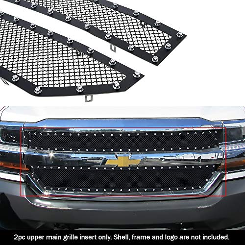 APS Compatible with 2016-2018 Chevy Silverado 1500 & 19 Silverado 1500 LD Main Upper Stainless Steel Black Rivet Mesh Grille S18-H0636LC