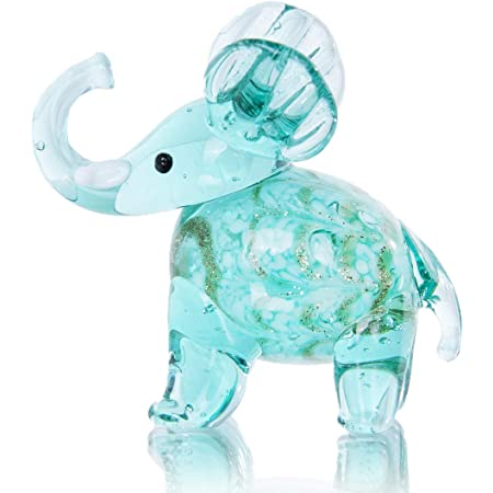 Amazon Com Crystalsuncatcher Hand Blown Art Glass Elephant Figurine Miniature Animals Collection Sky Blue Home Kitchen