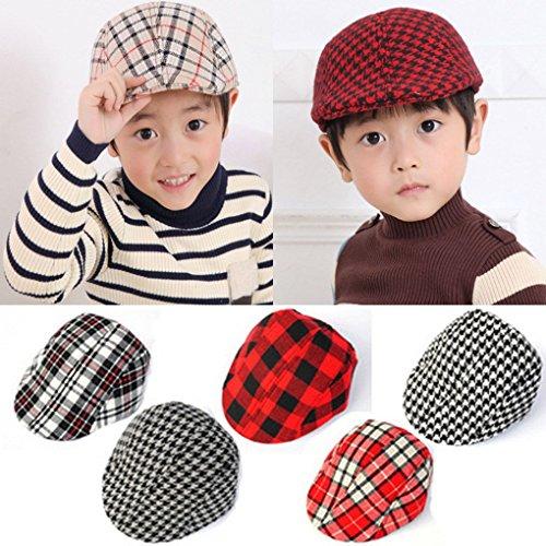 Luckiests Niños de los niños de la Boina del Casquillo del Vendedor de periódicos del Sombrero a Cuadros Gorra de béisbol Ajustable del Sombrero