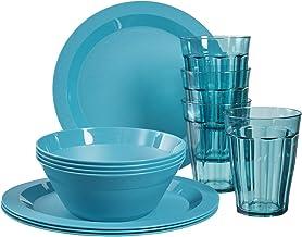 Cambridge Plastic Plate, Bowl and Tumbler Dinnerware | 12-piece set Teal
