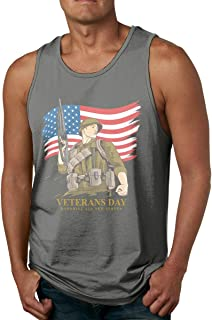 HUALA Men Fashion Solid Color Round Neck Veterans Day Fitness Tank Undershirts