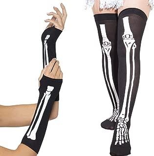 Halloween Costume Women's Skeleton Fingerless Gloves & Stockings Party