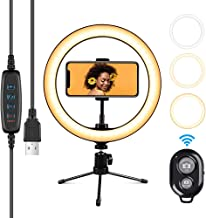 "Ring Light with Stand 10.2"" RingLight with Tripod Stand and Phone Holder Remote Control 3 Lighting Modes and 10 Lighting L..."