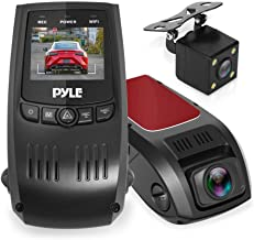 "Dash Cam Rearview DVR Monitor - 1.5"" Digital Screen Rear View Dual Camera Video Recording System in Full HD 1080p w/ Built in G-Sensor Parking Monitor & Loop Video Recording Support - Pyle PLDVRCAM74"