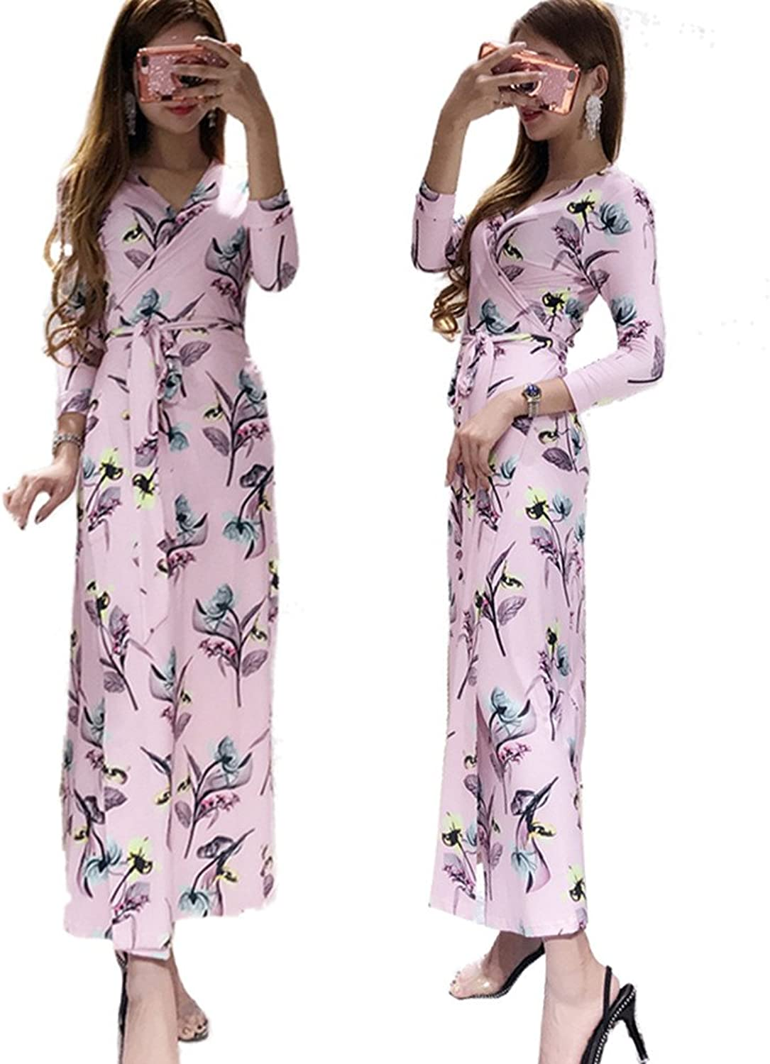 XC DVF Women Summer Vintage Floral Print Wrap Dress dvf Long Maxi Beach Dress with Belt